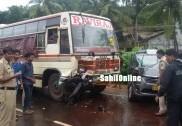 اُلال میں کار اُلٹ گئی، بس کی زد میں آکر بائک سوار ہلاک