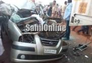 بیندور کے قریب اوتینانی میں لاری اور کار کی خطرناک ٹکر؛ کار پر سوار ماں اور بچی چل بسی، دیگر دو شدید زخمی