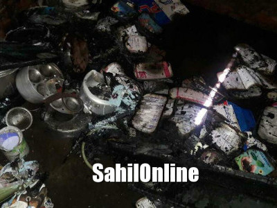 Fire engulfes a house in Dandeli; destroys goods worth two lakhs