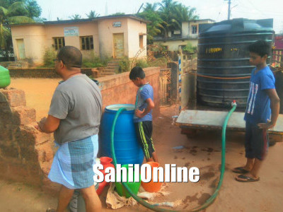 Water being supplied in tankers in Bhatkal