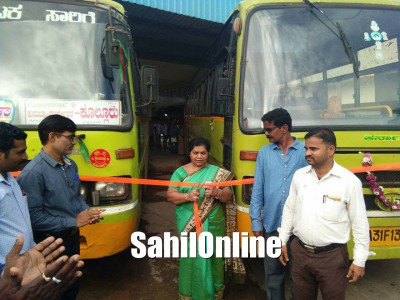 Kumta MLA Sharada Mohan Shetty inaugurated new buses at the KSRTC bus stand
