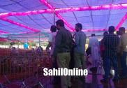 بھٹکل میں صبح سے زوردار بارش اور وزیراعلیٰ سدرامیا کادورہ بھٹکل؛ اسٹیج کے قریب کیچڑ جمع ہوجانے سے منتظمین پریشان؛ ڈی سی اور ایس پی نے لیا جائزہ