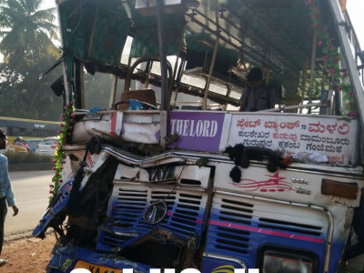 Mangaluru: One dead, 20 injured in bus-truck collision