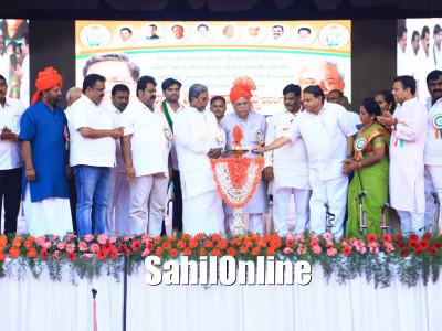 Karnataka CM Siddaramaih Inaugurates Development works in Haliyal, the constituency of Industries Minister R V Deshpande