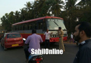 Bus hits Bike at Bhatkal NH66; 2 injured youths taken to Kundapur