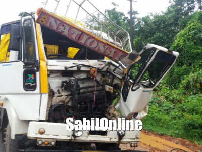 Cleaner killed as lorry rams parked container at Mangalore Bangalore National Highway at Puttur