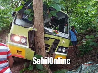 Bus rams tree in Torke village near Gokarna in Kumta taluk after a car hit the bus