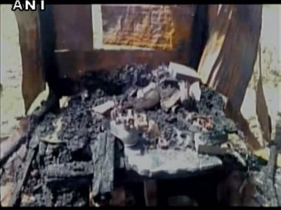 Three shops selling meat set ablaze in UP