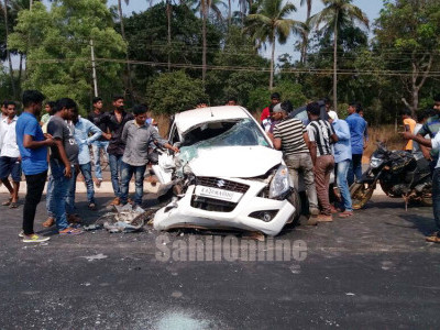 Speeding lorry hits car near Kundapur, cop hurt