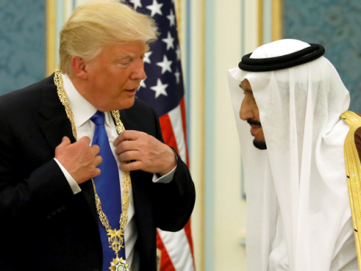 King Salman presents Trump with Saudi Arabia's top civilian honor