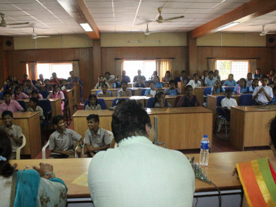 Minister Pramod Madhwaraj meets kids on Children's Day in Udupi