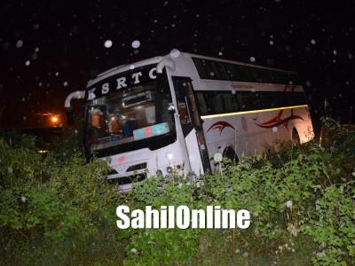 KSRTC bus veers off road near Mankuli Cross, Bhatkal