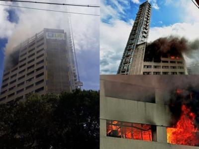 کولکاتہ کی فلک بوس 19منزلہ عمارت میں لگی آگ ،فائر بریگیڈ موقع پر