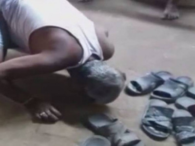 نالندہ: سرپنچ کی شرمناک حرکت، ایک شخص کو دی تھوک چاٹنے کی سزا