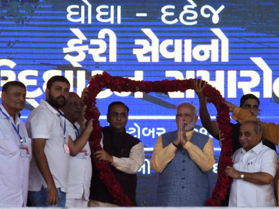 PM inaugurates ferry service between Ghogha and Dahej in Gujarat