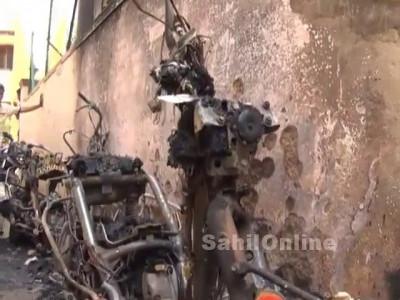ہبلی میں گھر کے باہر رکھی ہوئی تین بائک نذر آتش؛