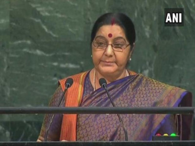 We created IITs, you JeM, Sushma slams Pak at UN
