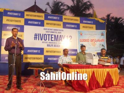 Udupi district administration organized #IVOTEMAY12 voters awareness program at Malpe beach in Udupi