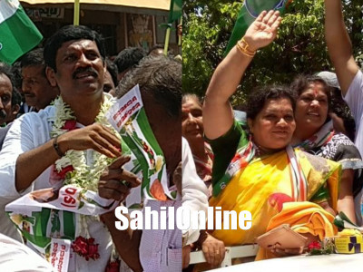 Sharada Shetty from Congress, Pradeep Nayak from JD(S) file nominations for Kumta constituency