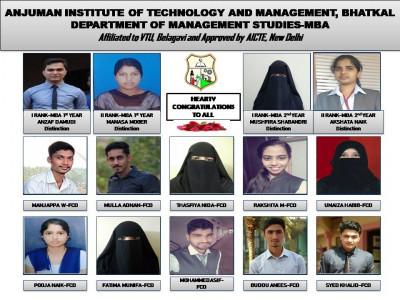 بھٹکل انجمن انسٹی ٹیوٹ آف ٹکنالوجی اینڈ مینجمنٹ کے شعبہ ایم بی اے میں طلبا کے شاندار نتائج