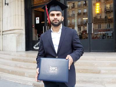 بھٹکل کے ہونہار طالب العلم صلاح الدین ایوب سدی باپا نے لی پیرس سے ماسٹر ڈگری