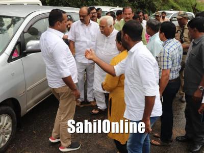 Karanataka revenue minister RV Deshpande and Housing Minister UT Kahder visits flood affected areas in Madikeri