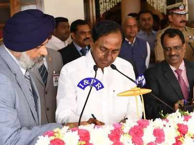 KCR sworn-in, returns as Telangana CM for second straight term