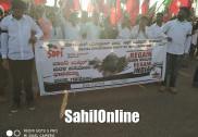 سرسی میں ایس ڈی پی آئی کا زبردست احتجاجی مظاہرہ۔بابری مسجد کی تعمیر نو مطالبہ