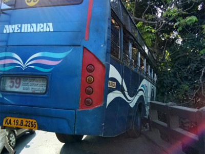 Mangaluru: Bus almost falls off a bridge, passengers escape without harm