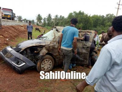 Four Injured as car overturns in Ankola