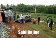 انکولہ میں کار بے قابو ہوکر سڑک کے باہر جاگری؛ چار زخمی