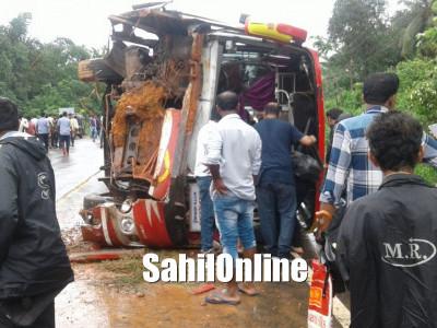 More than 30 people injured as bus overturns at Karkala