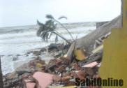Sea erosion washes away house in Ullal