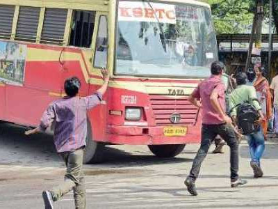 Bus hits a pedestrian near Kumta; injured