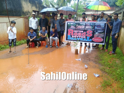 Bhatkal: Protesters float paper boats, 'fish' in pothole-filled road