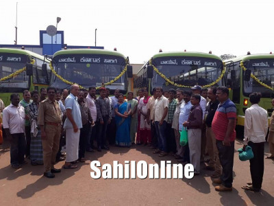 Kumta MLA Sharada Shetty inaugurates four more new KSRTC busses belonging to Kumta depot