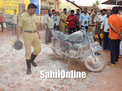Bike catches fire in Bhatkal