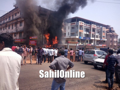 Huge fire erupts in Hardware store in Manipal