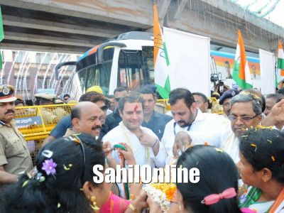 Indian National Congress President Rahul Gandhi received a warm welcome in Surathkal and Mulki