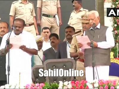کماراسوامی بنے کرناٹک کے نئے  وزیراعلیٰ ؛ جی پرمیشور نے لیا ڈپٹی سی ایم کا حلف؛ بنگلور میں سیکولر پارٹیوں کے لیڈروں کا میگا شو