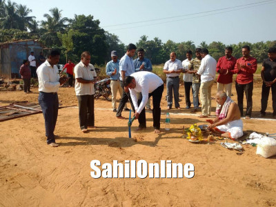 Shirali: Bhatkal MLA Sunil Naik performs Bhumi puja for construction of Cyclone Centre to be constructed at a cost of Rs 2.36 crore in Tattihakkal