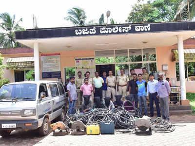 منگلورو: ریلوے کے الیکٹرک کیبل چرانے والے پانچ ملزمین پولیس حراست میں۔2لاکھ مالیت کا مسروقہ مال برآمد