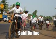 بھٹکل میں ایندھن اور ماحولیاتی تحفظ بیداری پیدا کرنے سکشم سائیکلو تھیا ن سائیکل ریلی