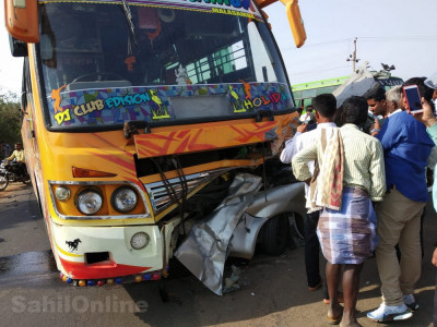 Three of a family die in car bus collision in Hangal, Haveri