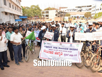 Cycle rally for voter awareness in Dharward