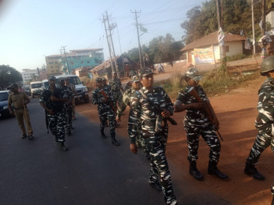 Central Reserve Police Force  (CRPF) took march in Ullal and Konaje to build confidence to the voters for upcoming Loksabha election