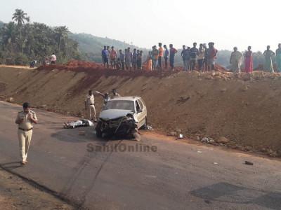 انکولہ میں ہوئے سڑک حادثہ میں ایک نوجوان جاں بحق؛ دو زخمی؛ ایس ایس ایل سی امتحان دینے کاروار جانے کے دوران پیش آیا حادثہ