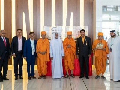 Indians rejoice as stone laid for first Hindu temple in Abu Dhabi