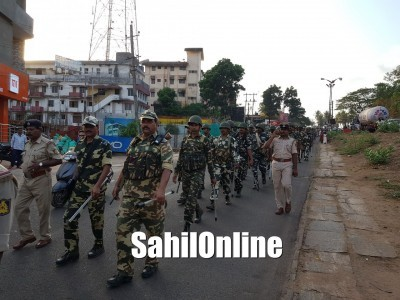Bhatkal: Police and Military Personnel Conduct Route March ahead Of LS Polls