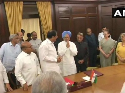 Former PM Manmohan Singh takes oath as RS member